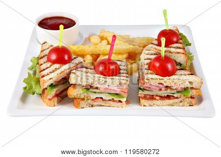 Four Club Sandwich With Chicken Fillet On White Serving Platter.