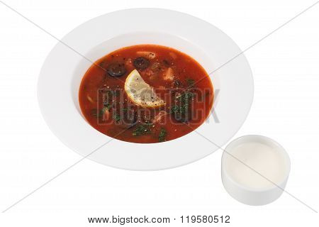 Plate Soup Saltwort Isolated On White Background, Russian Cuisine.