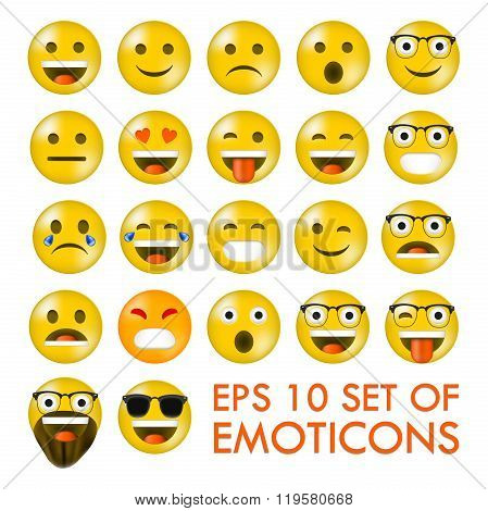 Set of Emoticons or Emoji. Isolated