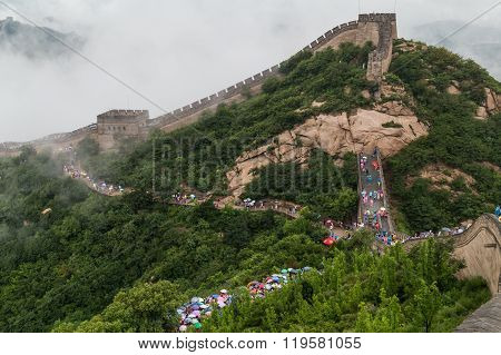 Tourists On Great Wall In Beijing,  China