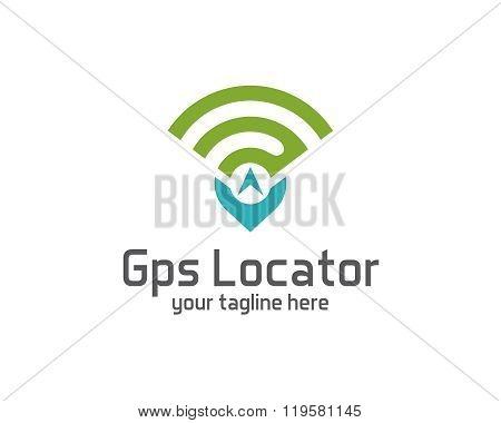 GPS locator design vector template. Pin map symbol vector . Gps icon design vector. Simple clean design Gps locator logo vector. poster