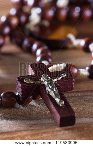 Rosary Beads On A Table