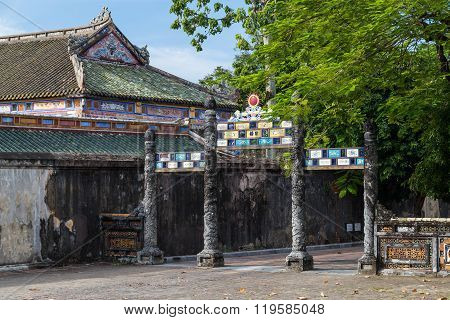 Gate In Imperial Royal Palace Of Nguyen Dynasty In  Hue