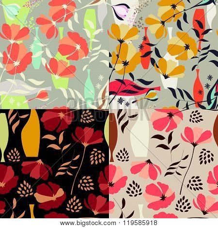 Vector seamless pattern with floral elements, spring flowers, poppies and vases, vector illustration