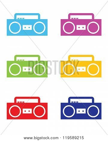 Colourful Vector Boombox Set
