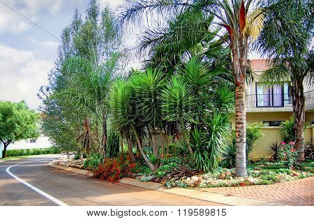 Beautiful landscape in residential area