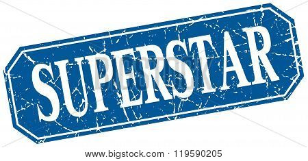 superstar blue square vintage grunge isolated sign