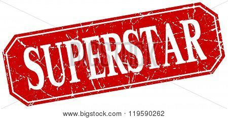 superstar red square vintage grunge isolated sign