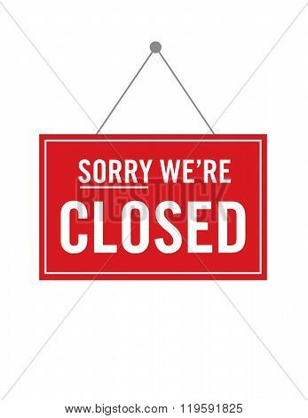 Vector Sorry We're Closed Store Sign