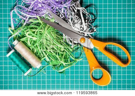 Textile Offcuts, Threads And Scissors