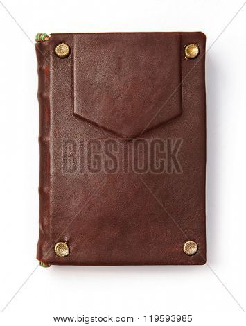 Vintage book in leather cover. Isolated white background