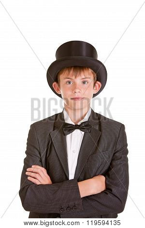 Stylish Young Boy Wearing Vintage Formal Attire