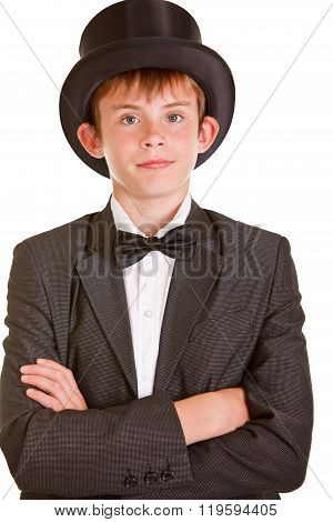 Boy In Black And White Formal Suit With Top Hat