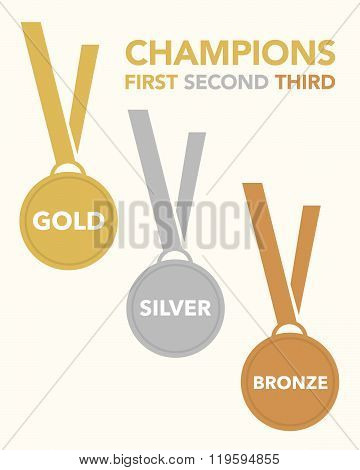 Vector Gold, Silver and Bronze Championship Medal Set