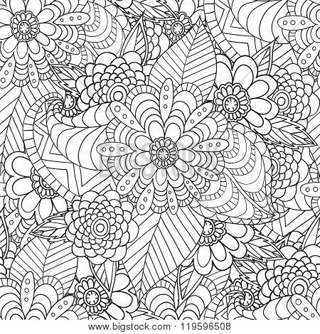 Hand Drawn Artistic Ethnic Ornamental Patterned Floral Frame In Doodle