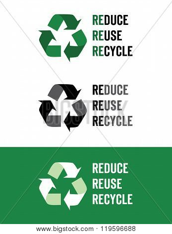 Vector 'Reduce, Reuse, Recycle' Icons