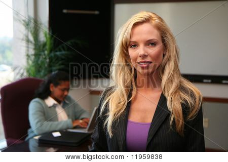 Young caucasian businesswoman ready for days work