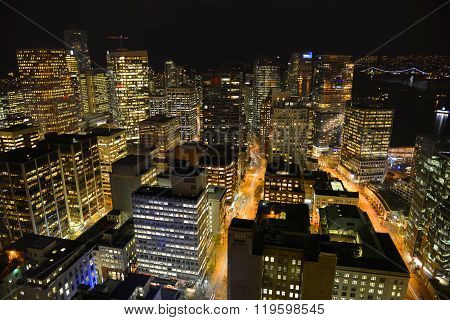 Vancouver City night view, BC, Canada