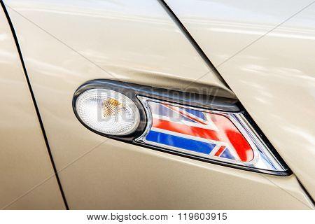 United Kingdom Flag As A Decoration Of A Car Light