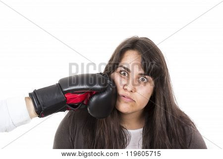 Fat Woman Getting Hit In The Face By Boxing Glove. White Background.