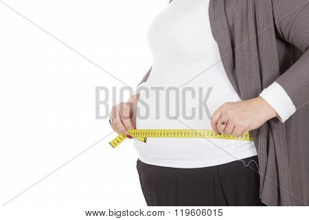 Pretty Large, Fat Girl With A Measuring Tape Isolated On White