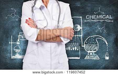 Doctor With Stethoscope And Scheme Chemical Reaction