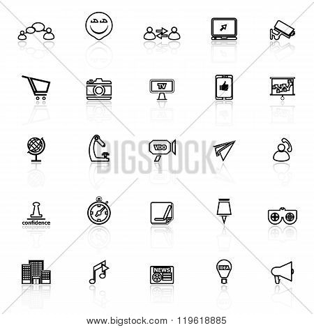 Media Marketing Line Icons With Reflect On White Background