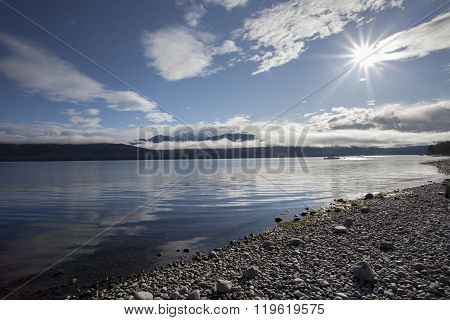 Sun Light Over Lake Te Anau Fiordland National Park New Zealand