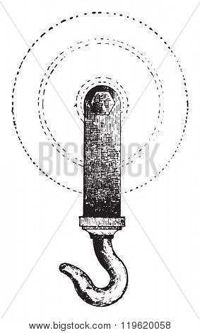 Pulley screed, vintage engraved illustration. Dictionary of words and things - Larive and Fleury - 1895.