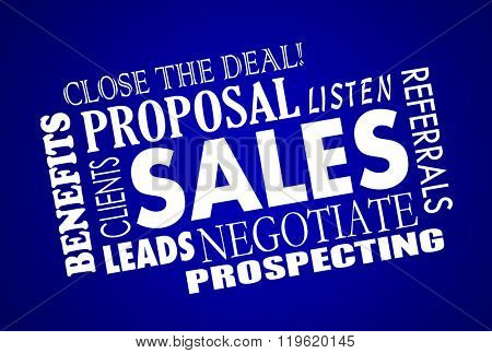 Sales Process Negotiation Leads Prospects Animated Word Collage