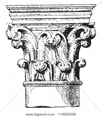 Capital (xii Century), one of the columns of the choir of Notre-Dame de Paris, vintage engraved illustration. Dictionary of words and things - Larive and Fleury - 1895.