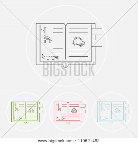 Set of books. Vector symbols of reading and learning. Book club illustration. Education logo element. kids (baby child) reading club