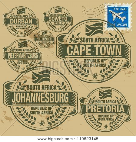 Grunge Rubber Stamp Set With Names Of South Africa Cities