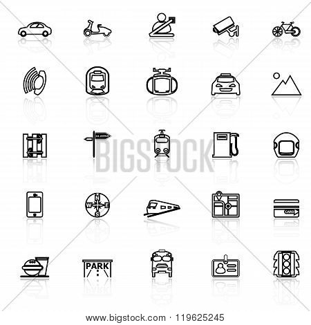 Land Transport Related Line Icons With Reflect On White
