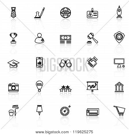 Sme Line Icons With Reflect On White