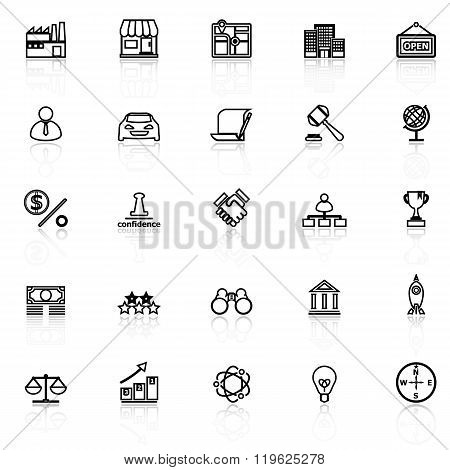 Franchise Line Icons With Reflect On White