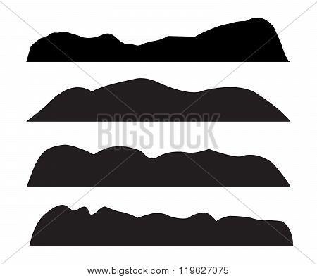 Mountain Silhouettes On White Background