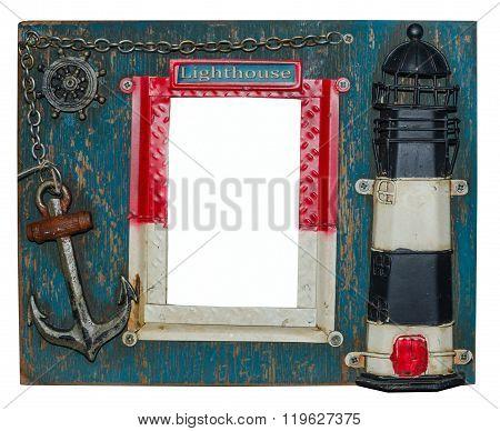 Unusual nautical photo frame. Lighthouse, anchor, chain, steering wheel