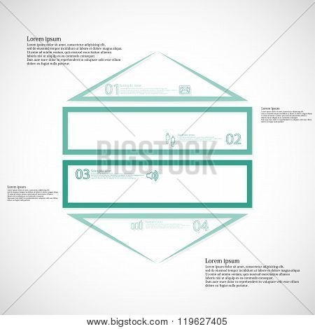 Infographic Template With Hexagon Shape Divided To Four Green Parts