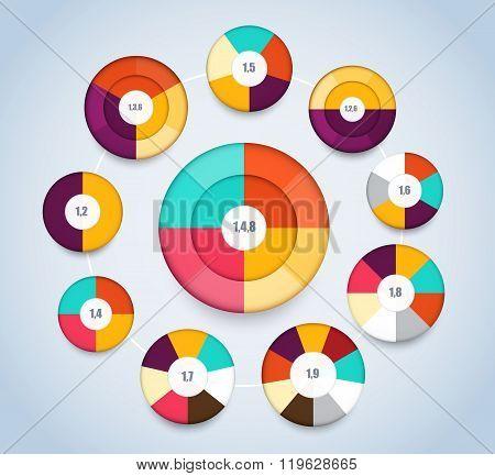 Multi Level Pie Chart Template For Presentation. Vector Illustration.