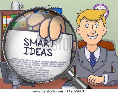 Smart Ideas through Magnifying Glass. Doodle Design.