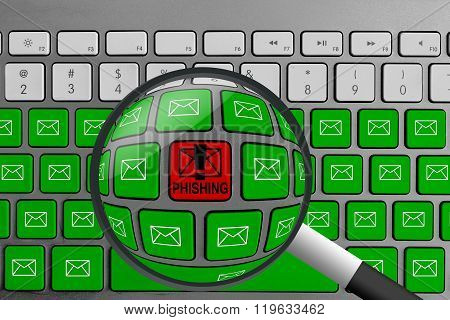 Computer keyboard with red phishing button surrounded with green email buttons and magnifying glass