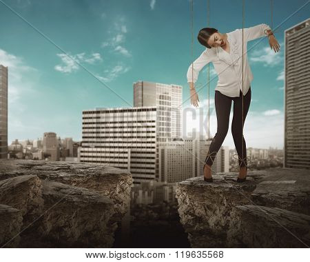 Asian Business Woman Hace String Attached On Her Body Like Marionette