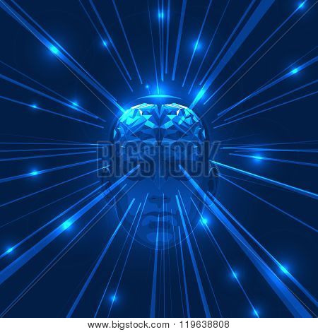 Abstract Human Head Brain with Light Rays.