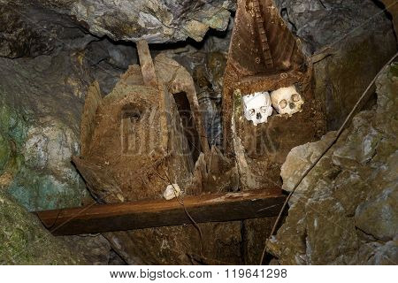 Wooden Old Coffins With Skulls In Tampangallo Burial Cave At Tana Toraja. Indonesia