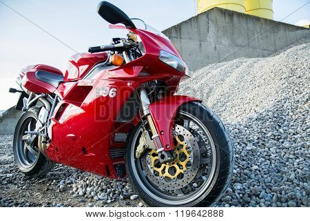 Red ducati 996s motorcycle