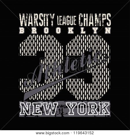 New York, Typography, Athletic, Design Graphic