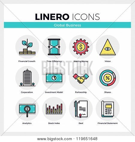 Global Business Linero Icons Set