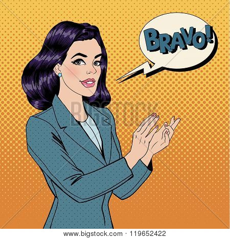 Pop Art Woman Applauding With Expression Bravo