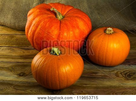 Pumpkins On Dark Wooden Background